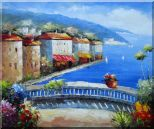 Mediterranean Coastal Village Oil Painting  20 x 24 inches