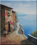 Mediterranean Retreat with Infinity View Oil Painting  24 x 20 inches