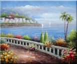 Beautiful Mediterranean Seaside Walk with Flowers Oil Painting  20 x 24 inches