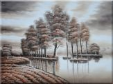 Trees and Reflections in a Light Brown Landscape Oil Painting  36 x 48 inches