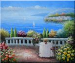Table and Chair in a Mediterranean Flower Garden Oil Painting  20 x 24 inches