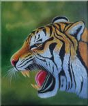 A Fierce Tiger Head in Green Background Oil Painting  24 x 20 inches