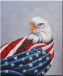 American Eagle / USA Flag Oil Painting  24 x 20 inches
