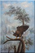 A Graceful Bald Eagle Stop on A Tree Oil Painting  36 x 24 inches