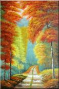Path in Fall Colorful Foliage Oil Painting  36 x 24 inches