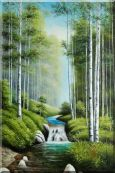 Waterfall in Spring Forest Oil Painting  36 x 24 inches
