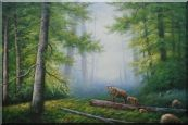 Bear Mother and Child Wandering in Deep Forest Oil Painting  24 x 36 inches