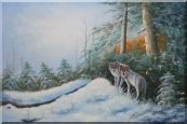 Pair of Wolves in Snow Forest Oil Painting  24 x 36 inches