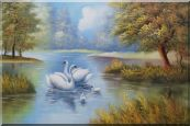 Swan Family in Tranquil Pond Oil Painting  24 x 36 inches