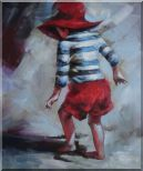Red Hat Little Child Walking on Beach under Summer Sunshine Oil Painting  24 x 20 inches