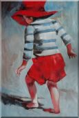 Red Hat Little Child Walking on Beach under Summer Sunshine Oil Painting  36 x 24 inches