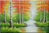 Double Waterfalls In Red Autumn Forest Oil Painting  24 x 36 inches