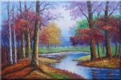 Small Pond Red Autumn Oil Painting  24 x 36 inches