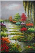 Bay Area Summer Seashore Garden Oil Painting  36 x 24 inches