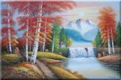 Small Waterfall Scenery in Alaska Colorful Autumn Oil Painting  24 x 36 inches