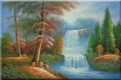 Small Cascade Waterfall with Tal Red Leaf Tree Autumn Scenery Oil Painting  24 x 36 inches
