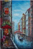 A Lonely Gondolier On Venice Street Oil Painting  36 x 24 inches