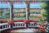 Tuscany Patio Surrounded by Vineyard Winery Oil Painting  24 x 36 inches