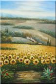 Sunflower Field Scenery Oil Painting  36 x 24 inches