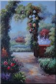 Beautiful Flower Garden Arched Arbor Oil Painting  36 x 24 inches