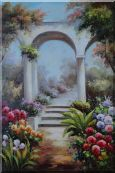 Arch Pavillion in A European Flower Garden Oil Painting  36 x 24 inches