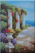 Beautiful Italy Mediterranean Flower Garden with Columns Oil Painting  36 x 24 inches