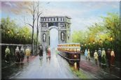 Arc de Triomphe and Avenue des Champs Elysees Oil Painting  24 x 36 inches