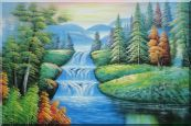 Water Falls in Green Spring with Forest and Mountain Oil Painting  24 x 36 inches