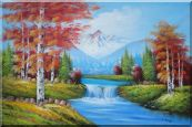 Small Waterfall Scenery in Autumn Oil Painting  24 x 36 inches