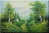 Small Cottage on An Early Spring Country Trail Oil Painting  24 x 36 inches