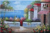 Under the Cozy Mediterranean Summer Sunshine Oil Painting  24 x 36 inches