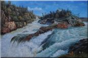 River Rushing Flows Oil Painting  24 x 36 inches