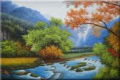 Water Stream in a Gorgeous Landscape with Mountain and Trees Oil Painting  24 x 36 inches