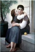 A Little Coaxing,  William Bouguereau Oil Painting  36 x 24 inches