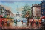 Impressionist Paris Street Toward to Eiffel Tower Cityscape Oil Painting  24 x 36 inches