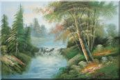 Waterfall and Forest Landscape View Oil Painting  24 x 36 inches