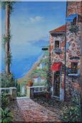 Stone House and Road of Mediterranean Village Oil Painting  36 x 24 inches