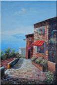 A Coastal Stone House in Greece  Oil Painting  36 x 24 inches