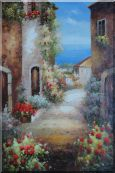 Mediterranean Walkway With Flowers  Oil Painting  36 x 24 inches