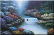 Water Stream Along Beautiful and Colorful Forest  Oil Painting  24 x 36 inches