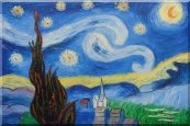The Starry Night, Van Gogh Reproduction  Oil Painting  24 x 36 inches