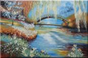 Flowers around River Bridge Oil Painting  24 x 36 inches