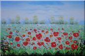 A Sea of ​​Red Poppy in Spring Oil Painting  24 x 36 inches