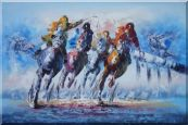 "Horse Racing Galloping Oil Painting 24""x36"""