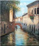 Small Boat Across Bridge in Venice Water Canal Oil Painting  24 x 20 inches