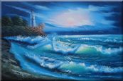 Sunset Lighthouse Oil Painting  24 x 36 inches
