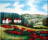Tuscany Landscape Scene Oil Painting  20 x 24 inches