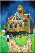Church at Auvers, Van Gogh Reproduction Oil Painting  36 x 24 inches