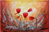 Red Flower Dancing in Wind Abstract Oil Painting Oil Painting  24 x 36 inches