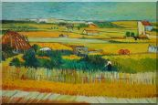Harvest At La Crau With Montmajour, Van Gogh Oil Painting  24 x 36 inches